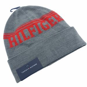 TOMMY HILFIGER Men Gray Beanie Red Strip Logo Hat